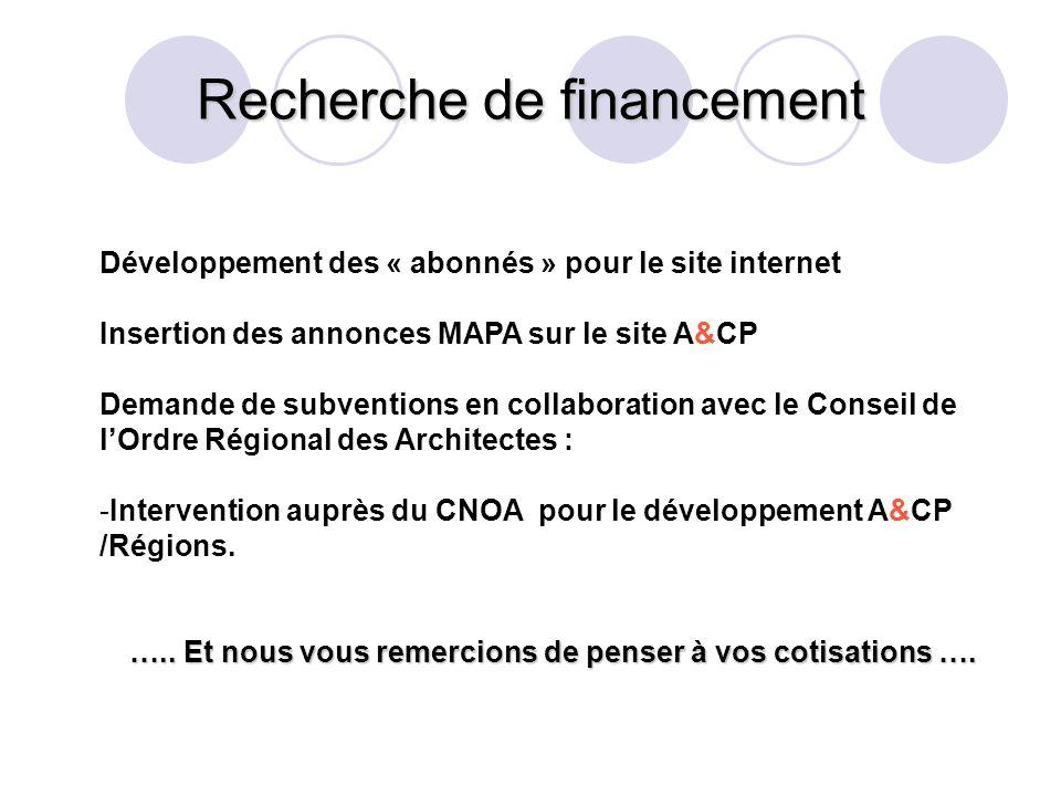 Recherche de financement Développement des « abonnés » pour le site internet Insertion des annonces MAPA sur le site A&CP Demande de subventions en collaboration avec le Conseil de lOrdre Régional des Architectes : -Intervention auprès du CNOA pour le développement A&CP /Régions.