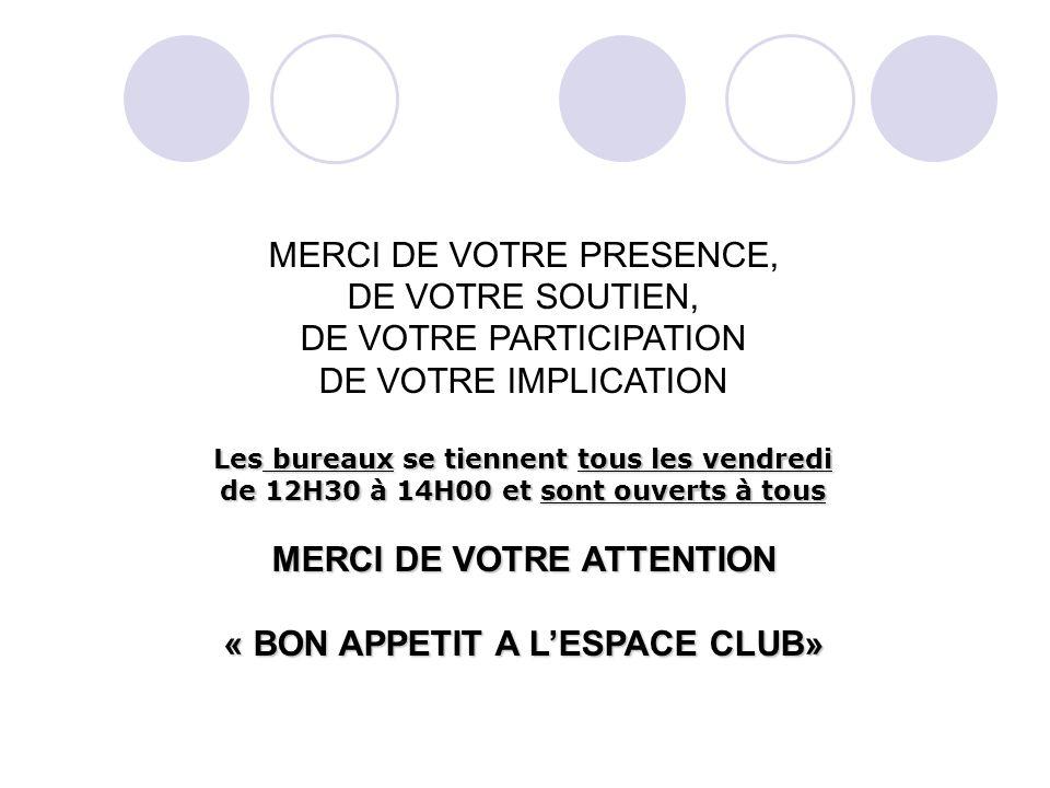 MERCI DE VOTRE PRESENCE, DE VOTRE SOUTIEN, DE VOTRE PARTICIPATION DE VOTRE IMPLICATION Les bureaux se tiennent tous les vendredi de 12H30 à 14H00 et sont ouverts à tous MERCI DE VOTRE ATTENTION « BON APPETIT A LESPACE CLUB»