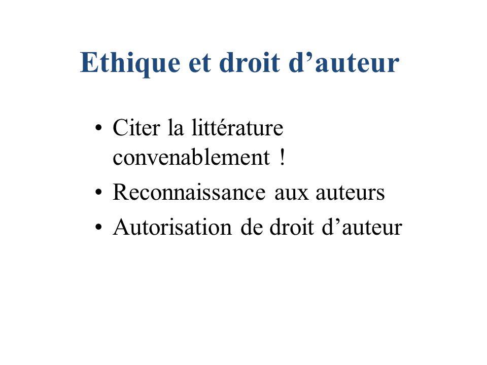Ethique et droit dauteur Citer la littérature convenablement ! Reconnaissance aux auteurs Autorisation de droit dauteur