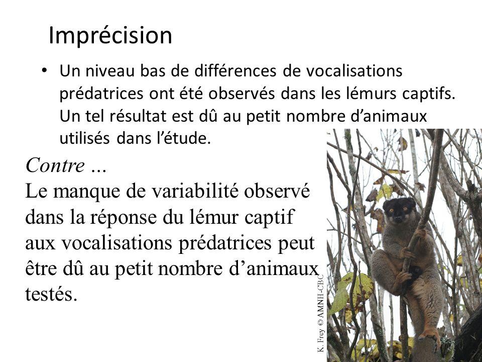 Imprécision Un niveau bas de différences de vocalisations prédatrices ont été observés dans les lémurs captifs. Un tel résultat est dû au petit nombre