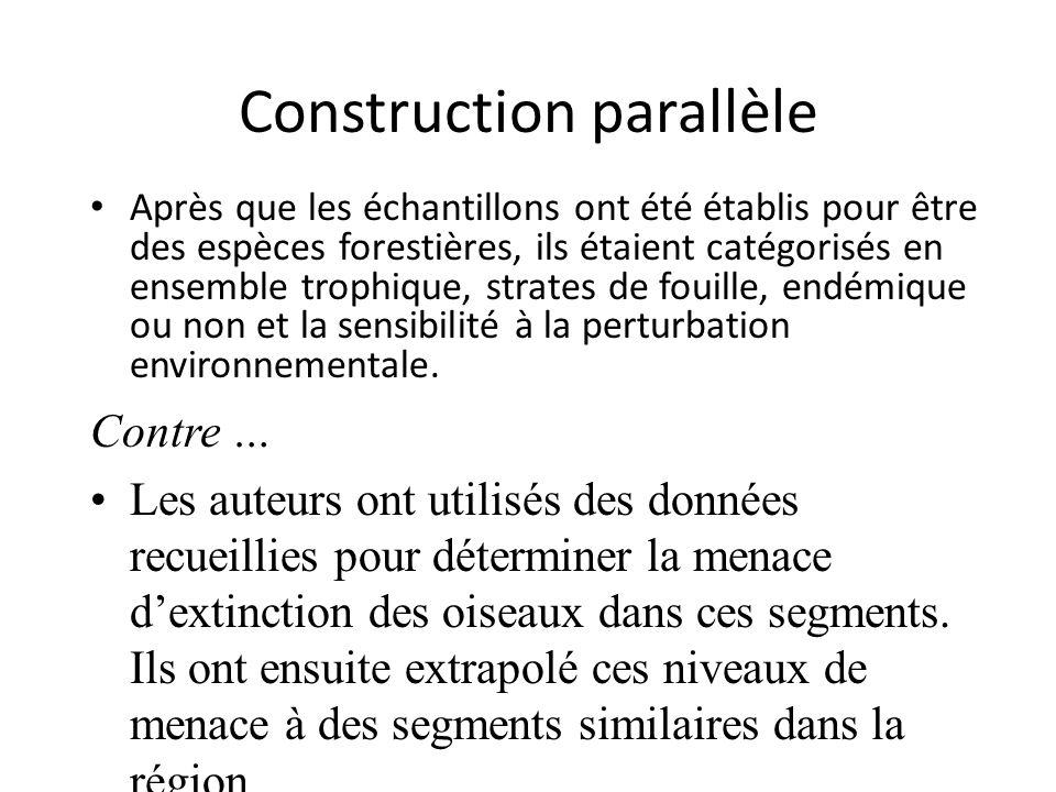 Construction parallèle Après que les échantillons ont été établis pour être des espèces forestières, ils étaient catégorisés en ensemble trophique, strates de fouille, endémique ou non et la sensibilité à la perturbation environnementale.