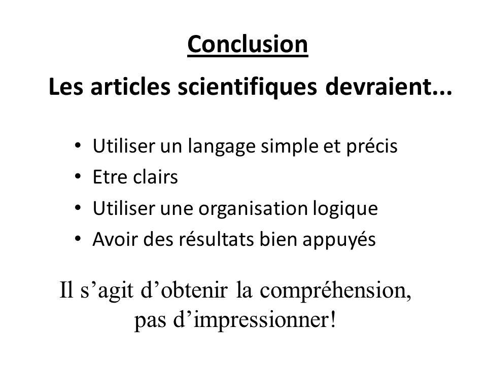 Conclusion Les articles scientifiques devraient... Utiliser un langage simple et précis Etre clairs Utiliser une organisation logique Avoir des résult