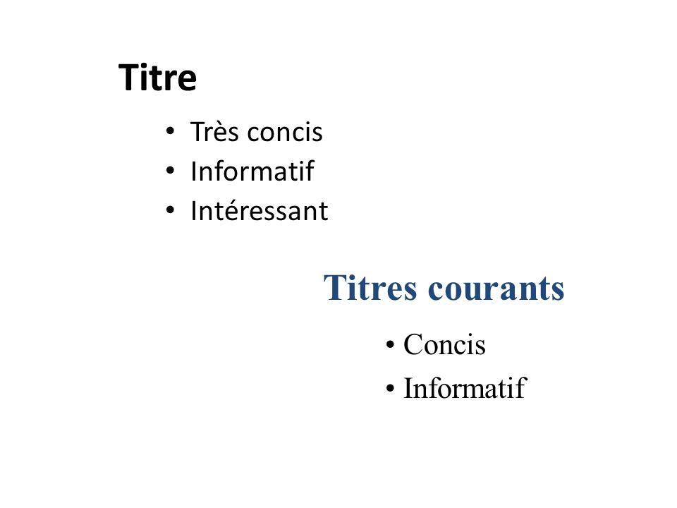 Titre Très concis Informatif Intéressant Titres courants Concis Informatif