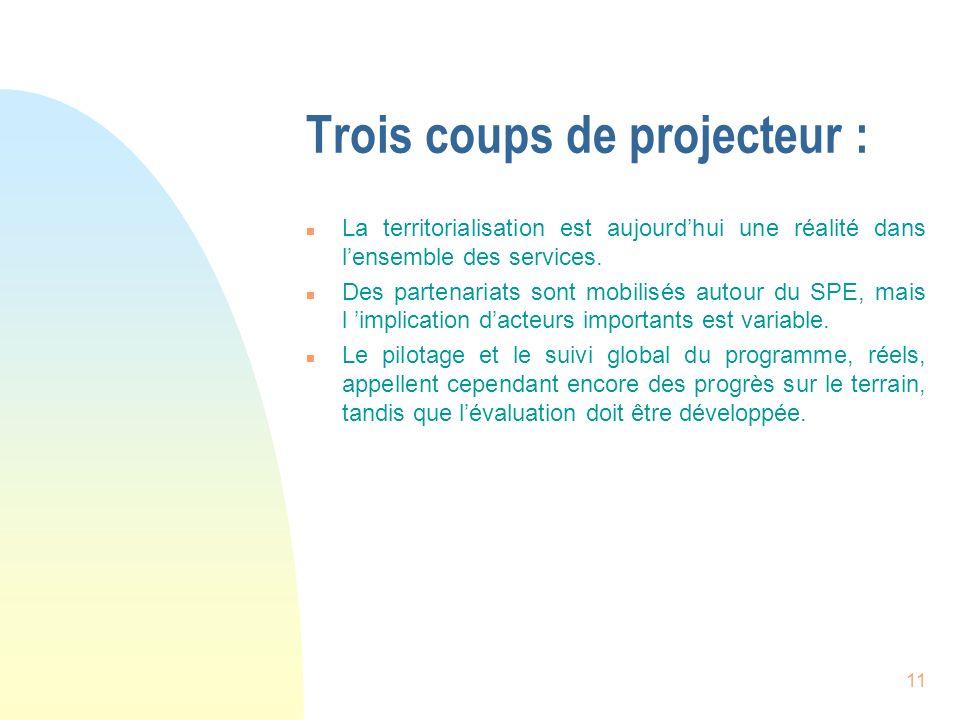 11 Trois coups de projecteur : n La territorialisation est aujourdhui une réalité dans lensemble des services. n Des partenariats sont mobilisés autou