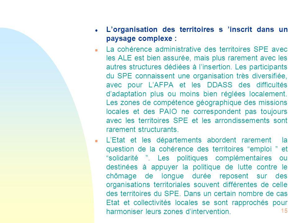 15 l Lorganisation des territoires s inscrit dans un paysage complexe : n La cohérence administrative des territoires SPE avec les ALE est bien assuré