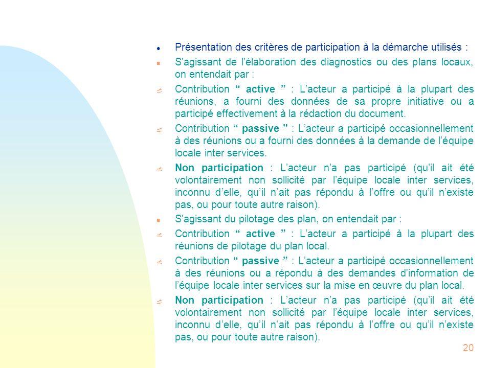 20 l Présentation des critères de participation à la démarche utilisés : n S'agissant de l'élaboration des diagnostics ou des plans locaux, on entenda