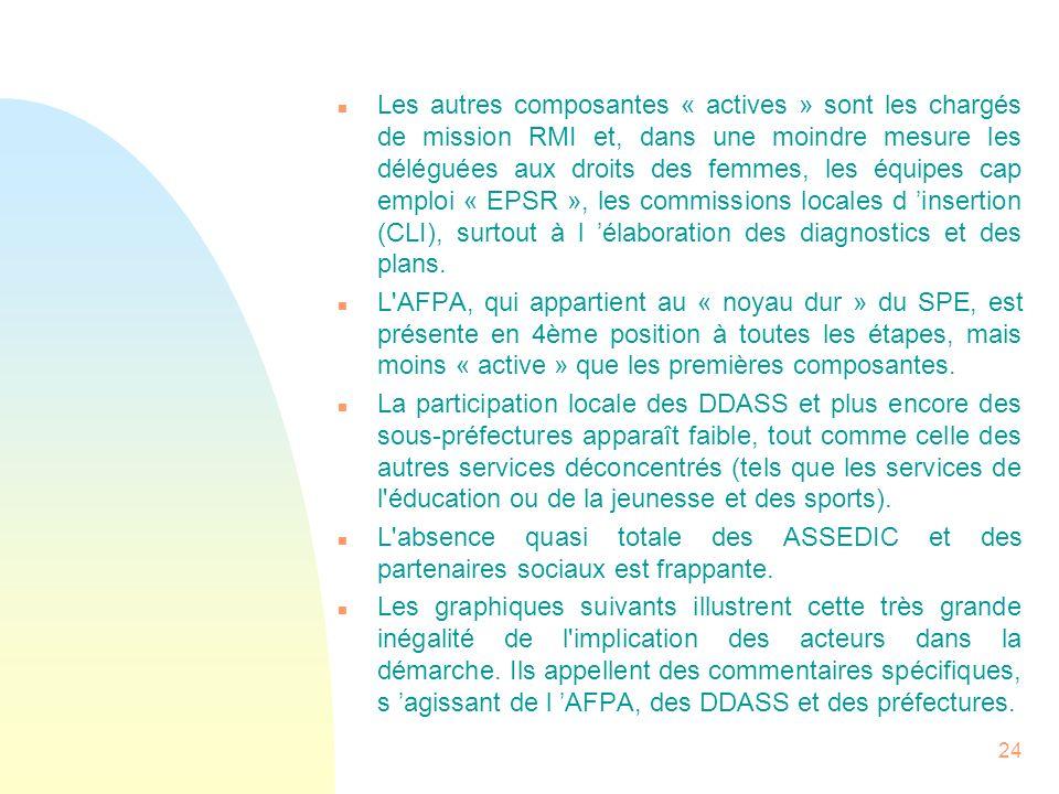 24 n Les autres composantes « actives » sont les chargés de mission RMI et, dans une moindre mesure les déléguées aux droits des femmes, les équipes c