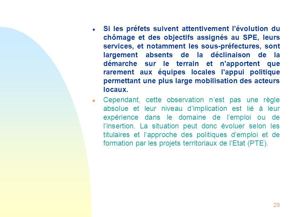 29 l Si les préfets suivent attentivement l'évolution du chômage et des objectifs assignés au SPE, leurs services, et notamment les sous-préfectures,