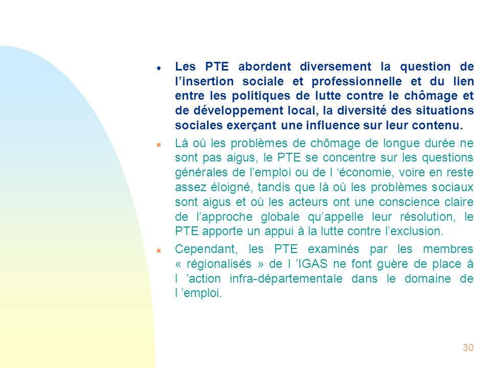 30 l Les PTE abordent diversement la question de linsertion sociale et professionnelle et du lien entre les politiques de lutte contre le chômage et d