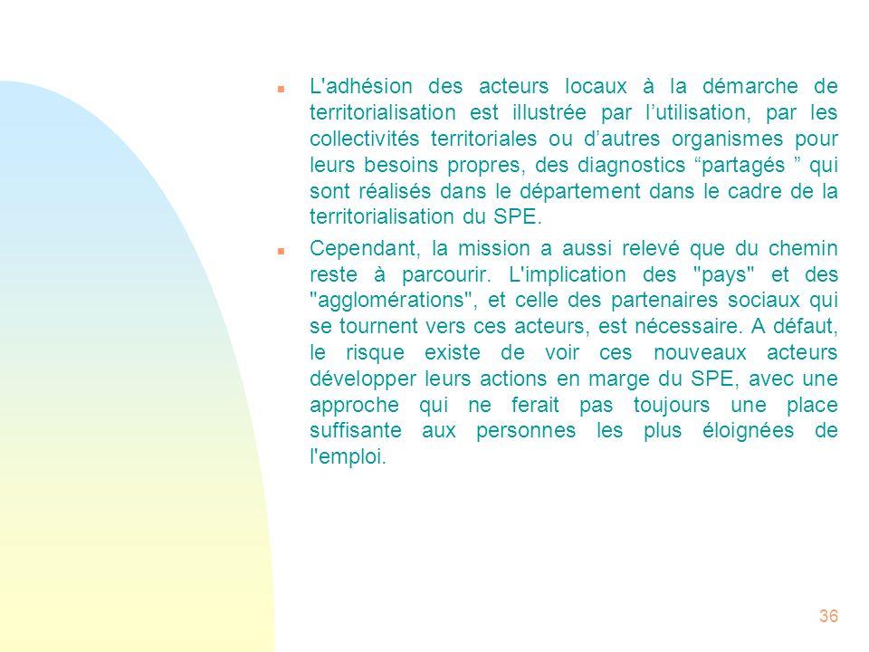 36 n L'adhésion des acteurs locaux à la démarche de territorialisation est illustrée par lutilisation, par les collectivités territoriales ou dautres