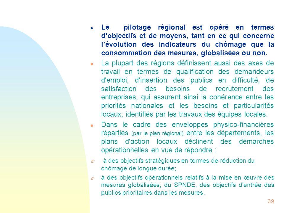 39 l Le pilotage régional est opéré en termes d'objectifs et de moyens, tant en ce qui concerne lévolution des indicateurs du chômage que la consommat