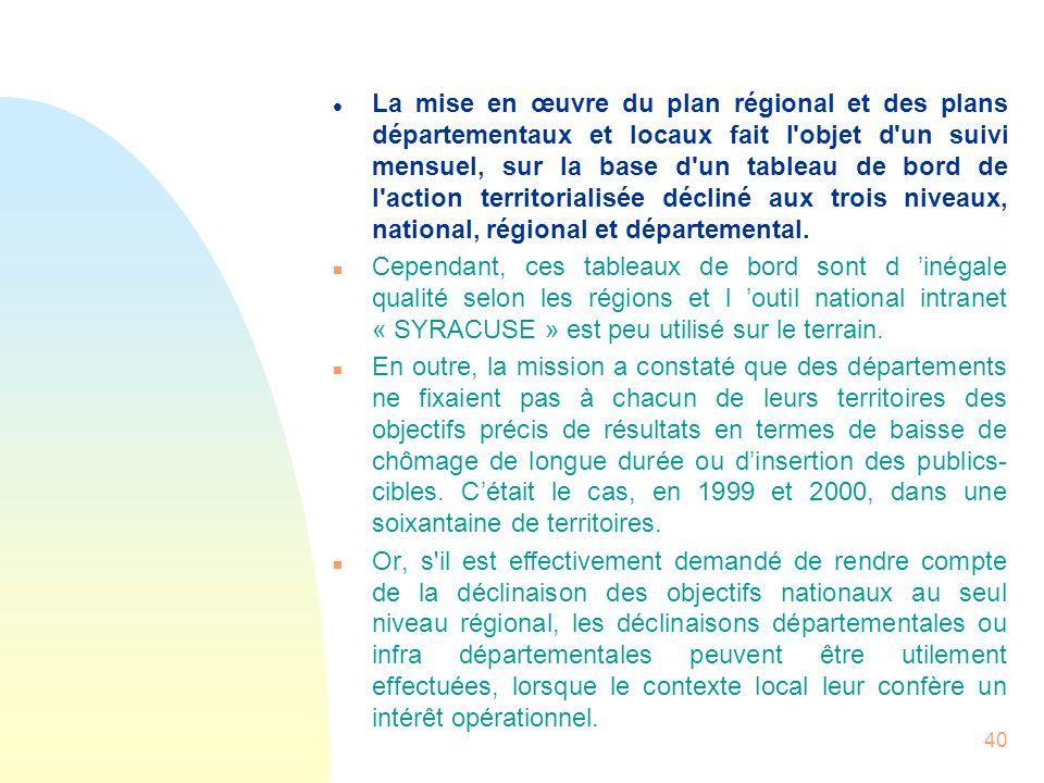 40 l La mise en œuvre du plan régional et des plans départementaux et locaux fait l'objet d'un suivi mensuel, sur la base d'un tableau de bord de l'ac