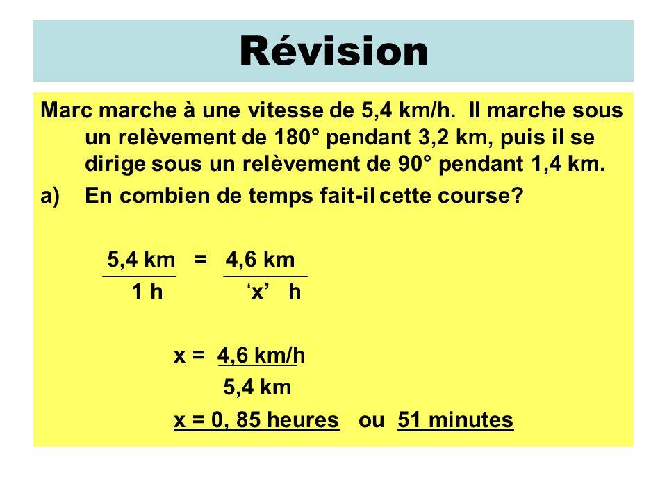 Révision Marc marche à une vitesse de 5,4 km/h.