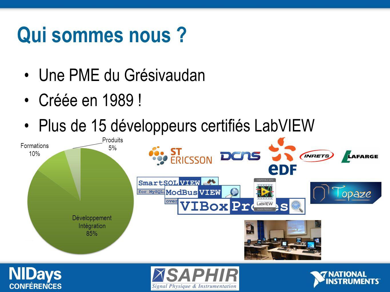 Qui sommes nous ? Une PME du Grésivaudan Créée en 1989 ! Plus de 15 développeurs certifiés LabVIEW