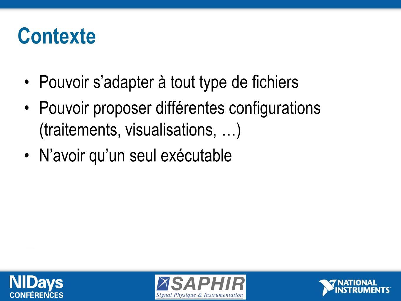 Contexte Pouvoir sadapter à tout type de fichiers Pouvoir proposer différentes configurations (traitements, visualisations, …) Navoir quun seul exécutable