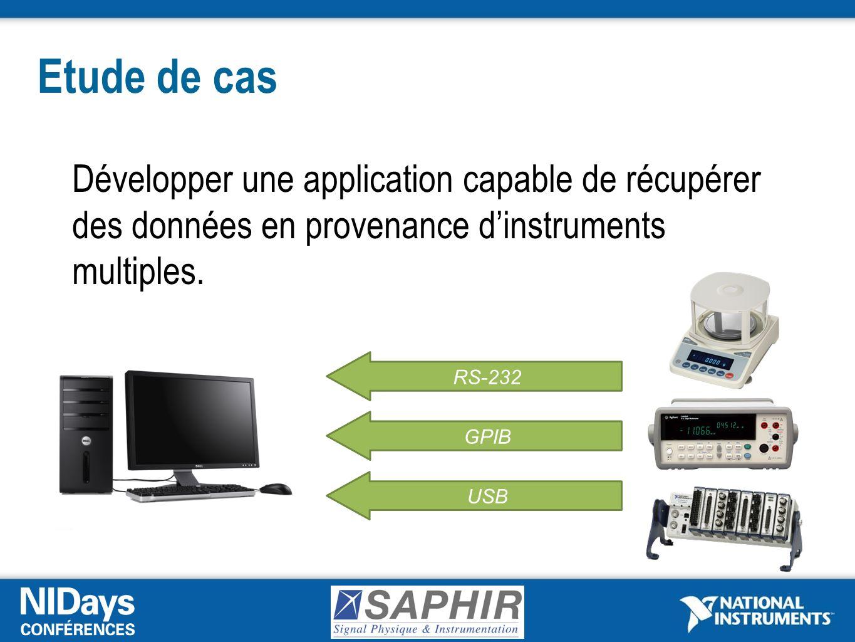 Etude de cas Développer une application capable de récupérer des données en provenance dinstruments multiples.