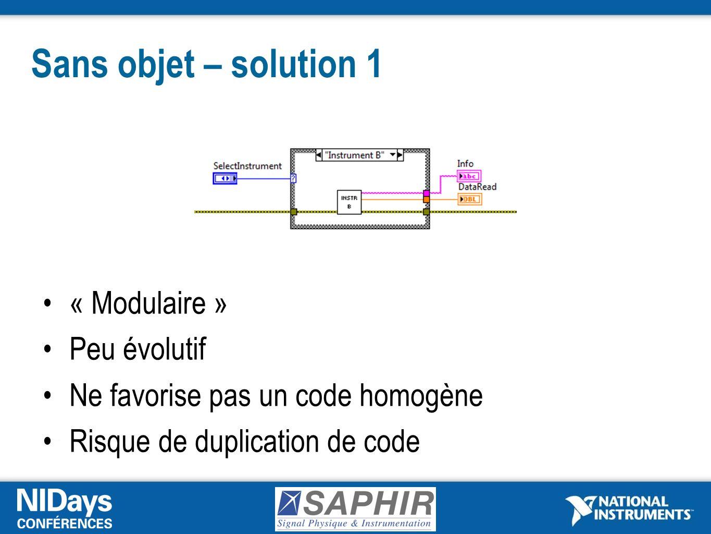 Sans objet – solution 1 « Modulaire » Peu évolutif Ne favorise pas un code homogène Risque de duplication de code
