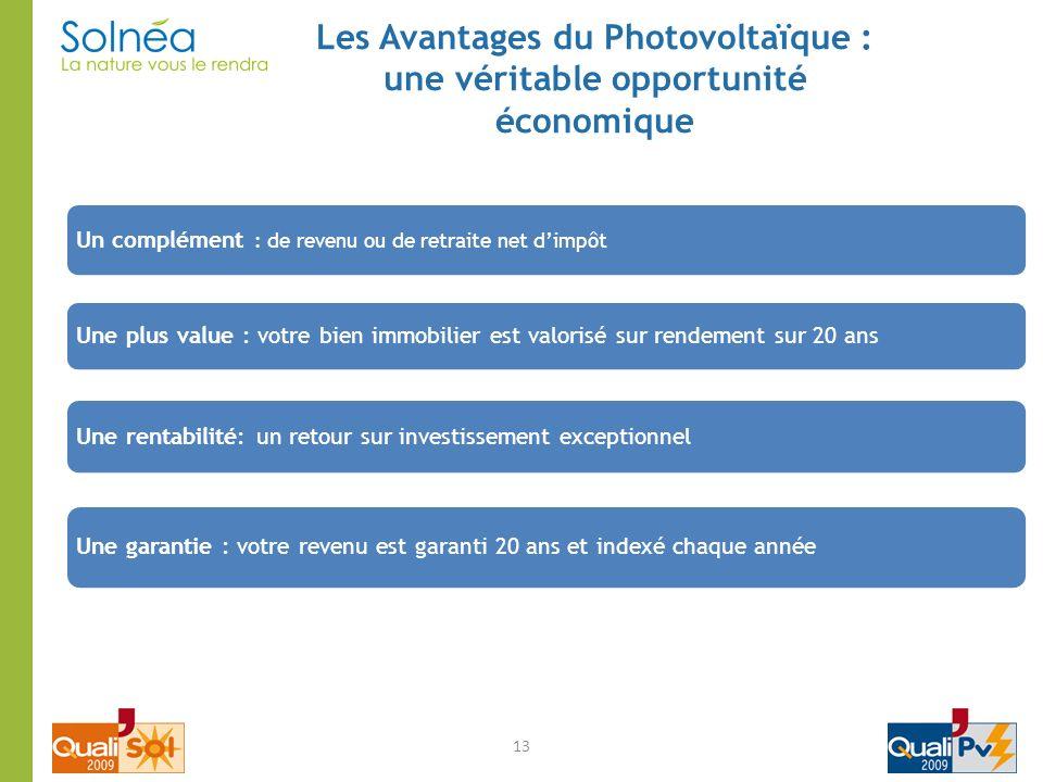 13 Les Avantages du Photovoltaïque : une véritable opportunité économique Un complément : de revenu ou de retraite net dimpôt Une rentabilité: un reto
