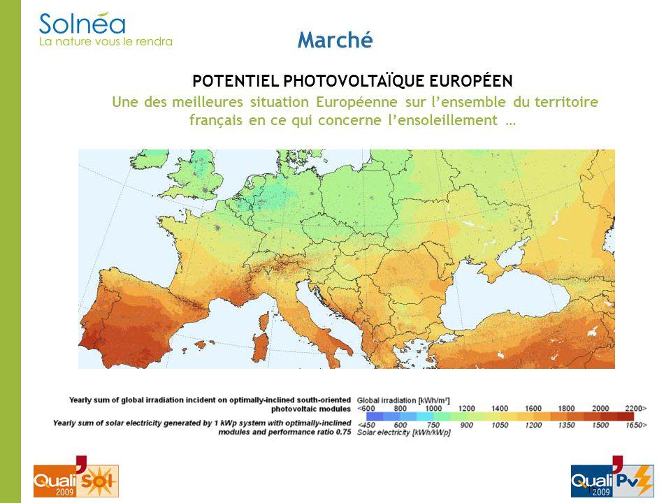 Marché 15 POTENTIEL PHOTOVOLTAÏQUE EUROPÉEN Une des meilleures situation Européenne sur lensemble du territoire français en ce qui concerne lensoleill