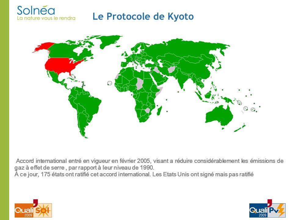 Le Protocole de Kyoto Accord international entré en vigueur en février 2005, visant a réduire considérablement les émissions de gaz à effet de serre,