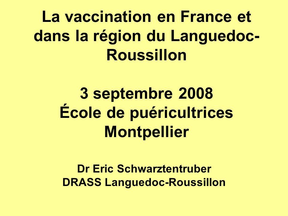 La vaccination en France et dans la région du Languedoc- Roussillon 3 septembre 2008 École de puéricultrices Montpellier Dr Eric Schwarztentruber DRAS