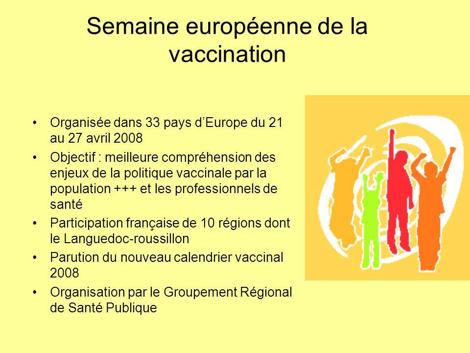 Semaine européenne de la vaccination Organisée dans 33 pays dEurope du 21 au 27 avril 2008 Objectif : meilleure compréhension des enjeux de la politiq