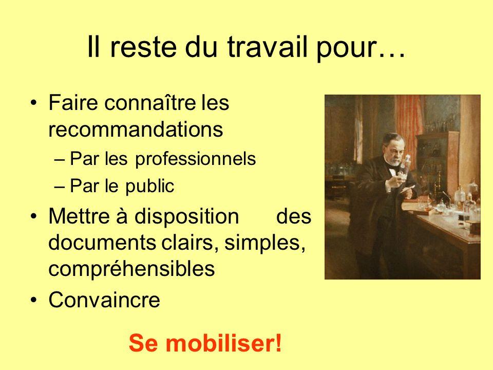 Il reste du travail pour… Faire connaître les recommandations –Par les professionnels –Par le public Mettre à dispositiondes documents clairs, simples