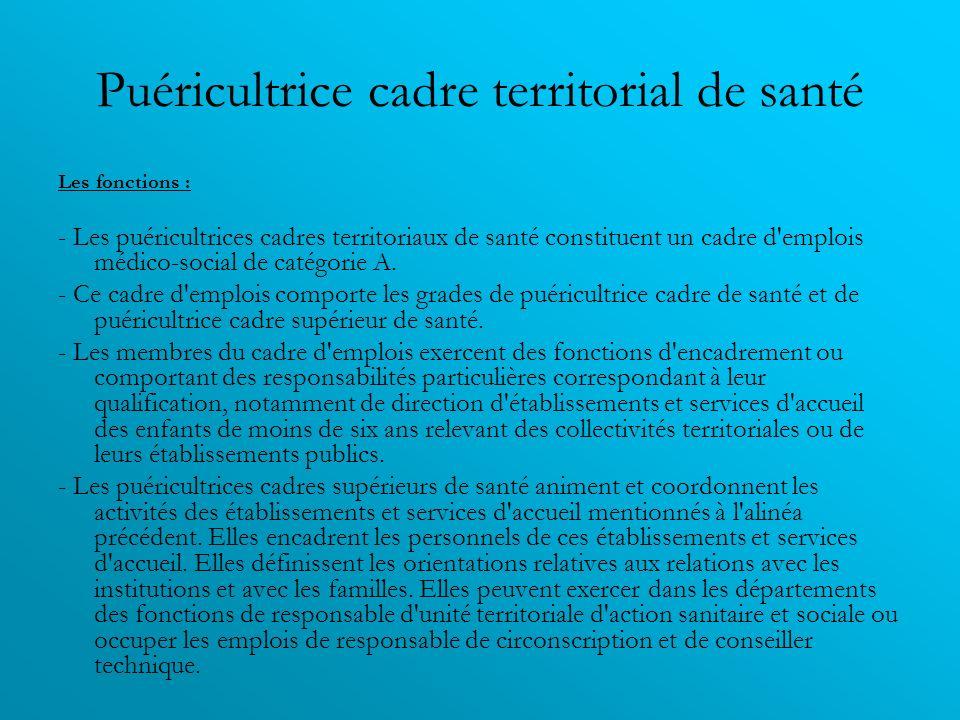 Puéricultrice cadre territorial de santé Les fonctions : - Les puéricultrices cadres territoriaux de santé constituent un cadre d'emplois médico-socia
