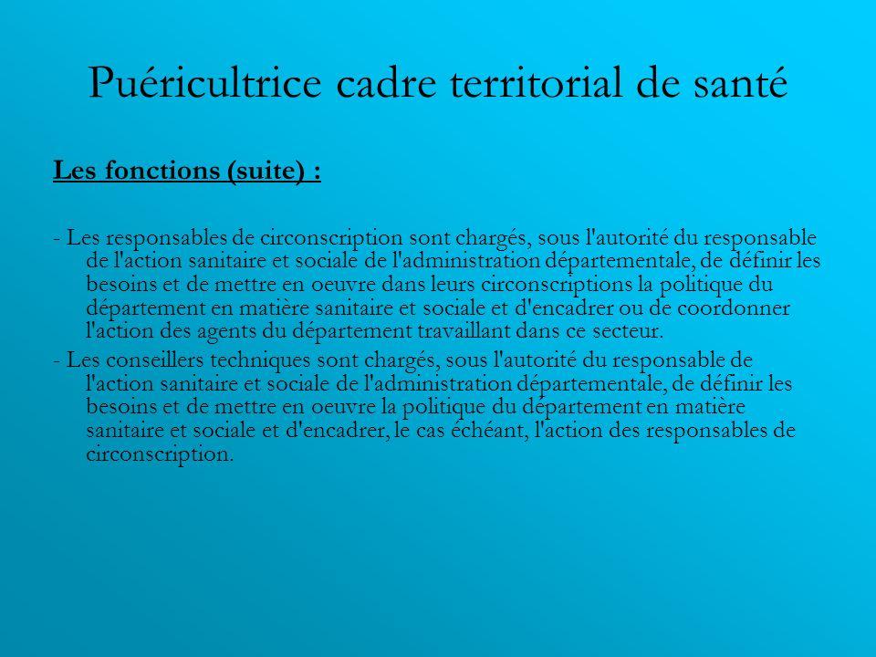 Puéricultrice cadre territorial de santé Les fonctions (suite) : - Les responsables de circonscription sont chargés, sous l'autorité du responsable de