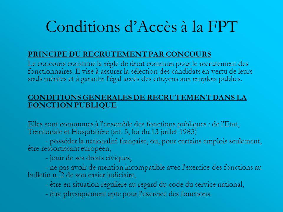 Conditions dAccès à la FPT PRINCIPE DU RECRUTEMENT PAR CONCOURS Le concours constitue la règle de droit commun pour le recrutement des fonctionnaires.
