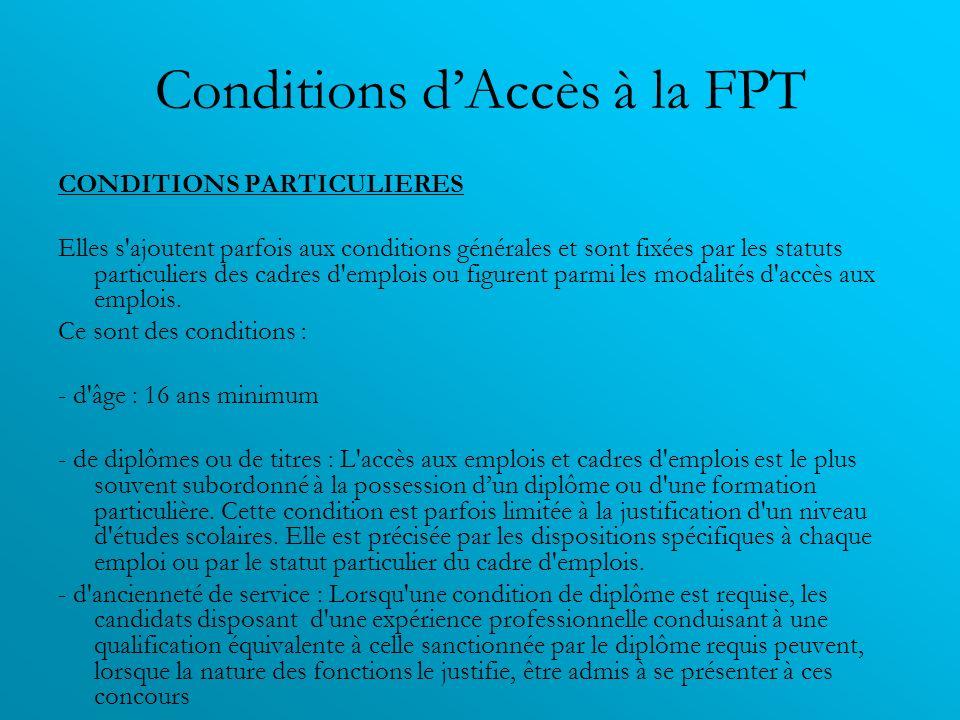 Conditions dAccès à la FPT CONDITIONS PARTICULIERES Elles s'ajoutent parfois aux conditions générales et sont fixées par les statuts particuliers des