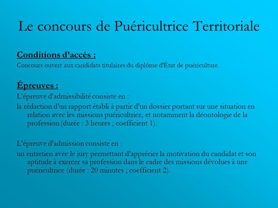 Le concours de Puéricultrice Territoriale Conditions daccès : Concours ouvert aux candidats titulaires du diplôme d'État de puériculture. Épreuves : L
