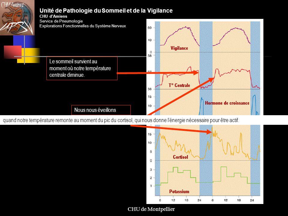 CHU de Montpellier Le sommeil survient au moment où notre température centrale diminue. Nous nous éveillons Unité de Pathologie du Sommeil et de la Vi