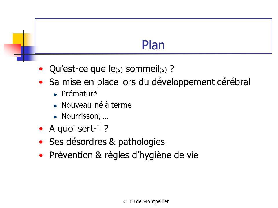 CHU de Montpellier Plan Quest-ce que le (s) sommeil (s) ? Sa mise en place lors du développement cérébral Prématuré Nouveau-né à terme Nourrisson, … A