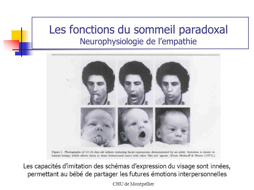 CHU de Montpellier Les fonctions du sommeil paradoxal Neurophysiologie de lempathie Les capacités dimitation des schémas dexpression du visage sont in