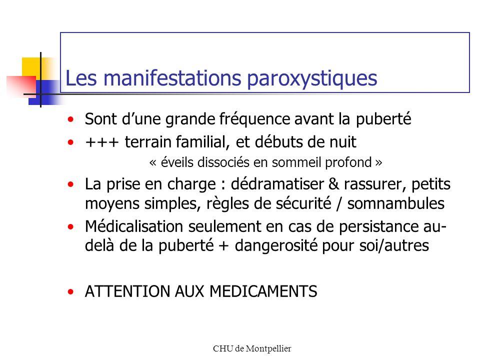 CHU de Montpellier Les manifestations paroxystiques Sont dune grande fréquence avant la puberté +++ terrain familial, et débuts de nuit « éveils disso