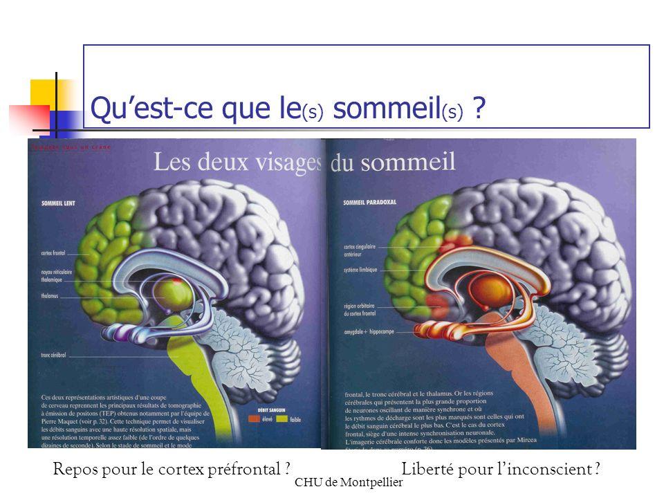 CHU de Montpellier Quest-ce que le (s) sommeil (s) ? Repos pour le cortex préfrontal ?Liberté pour linconscient ?