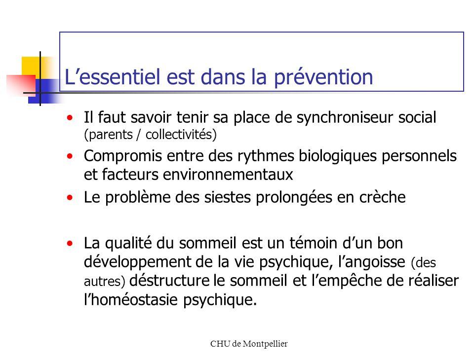CHU de Montpellier Lessentiel est dans la prévention Il faut savoir tenir sa place de synchroniseur social (parents / collectivités) Compromis entre d