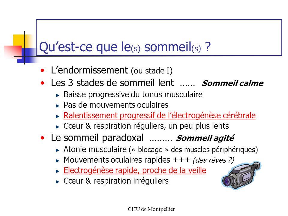 CHU de Montpellier Quest-ce que le (s) sommeil (s) ? Lendormissement (ou stade I) Les 3 stades de sommeil lent …… Sommeil calme Baisse progressive du