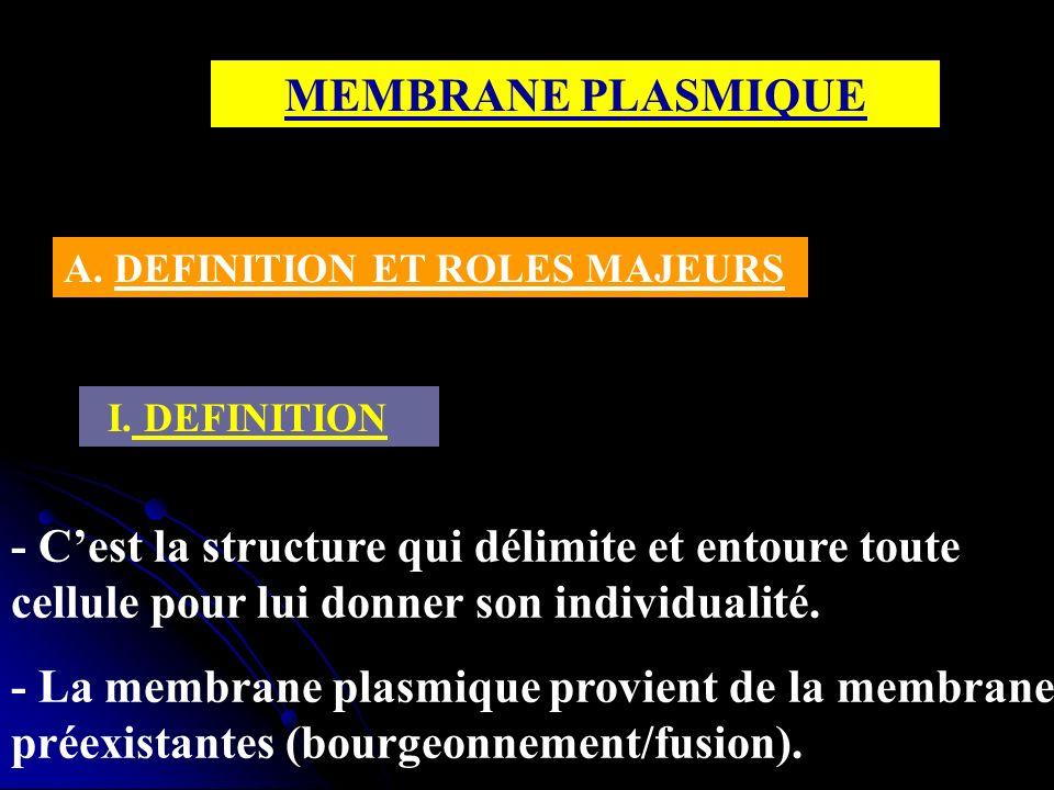 MEMBRANE PLASMIQUE I. DEFINITION - Cest la structure qui délimite et entoure toute cellule pour lui donner son individualité. - La membrane plasmique