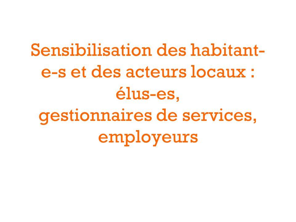 Sensibilisation des habitant- e-s et des acteurs locaux : élus-es, gestionnaires de services, employeurs