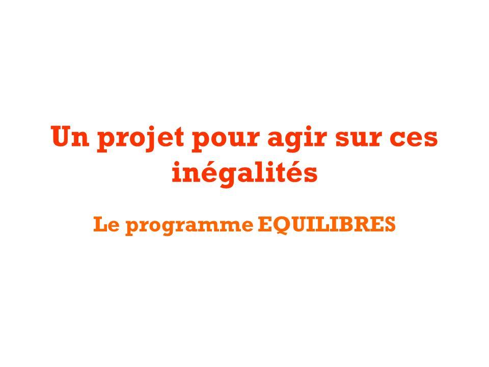 Un projet pour agir sur ces inégalités Le programme EQUILIBRES