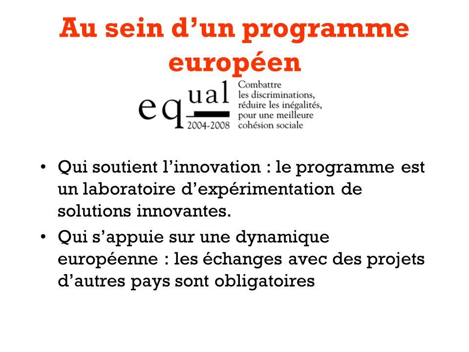 Au sein dun programme européen Qui soutient linnovation : le programme est un laboratoire dexpérimentation de solutions innovantes.
