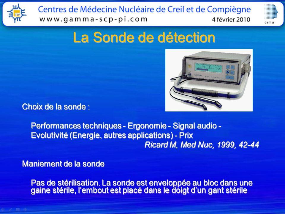 La Sonde de détection Choix de la sonde : Performances techniques - Ergonomie - Signal audio - Evolutivité (Energie, autres applications) - Prix Ricar