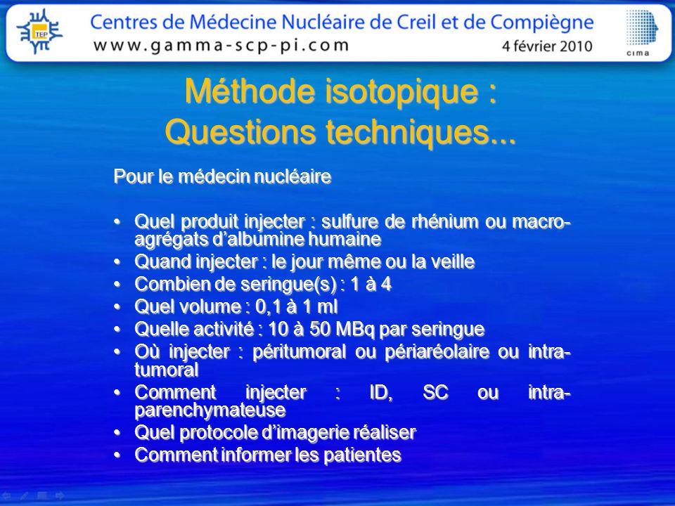 Méthode isotopique : Questions techniques... Pour le médecin nucléaire Quel produit injecter : sulfure de rhénium ou macro- agrégats dalbumine humaine