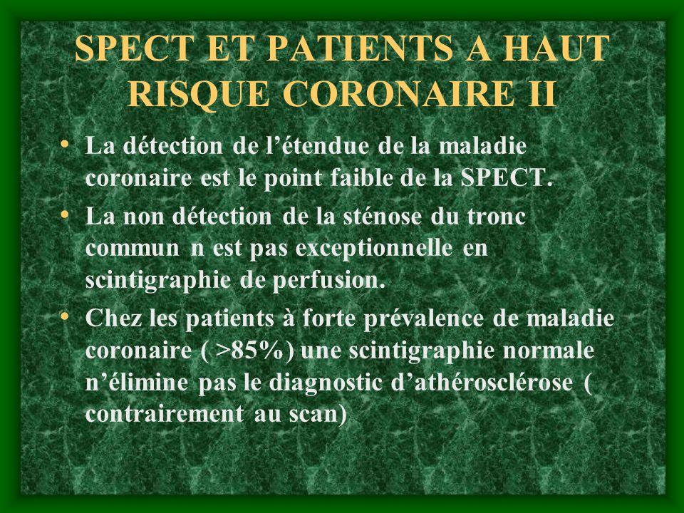 SPECT ET PATIENTS A HAUT RISQUE CORONAIRE II La détection de létendue de la maladie coronaire est le point faible de la SPECT. La non détection de la