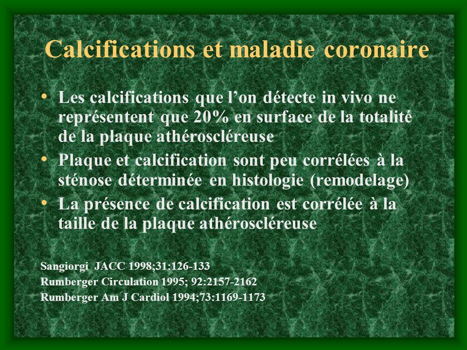 Calcifications et maladie coronaire Les calcifications que lon détecte in vivo ne représentent que 20% en surface de la totalité de la plaque athérosc