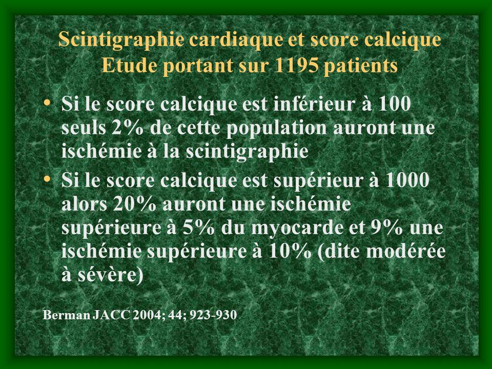 Scintigraphie cardiaque et score calcique Etude portant sur 1195 patients Si le score calcique est inférieur à 100 seuls 2% de cette population auront
