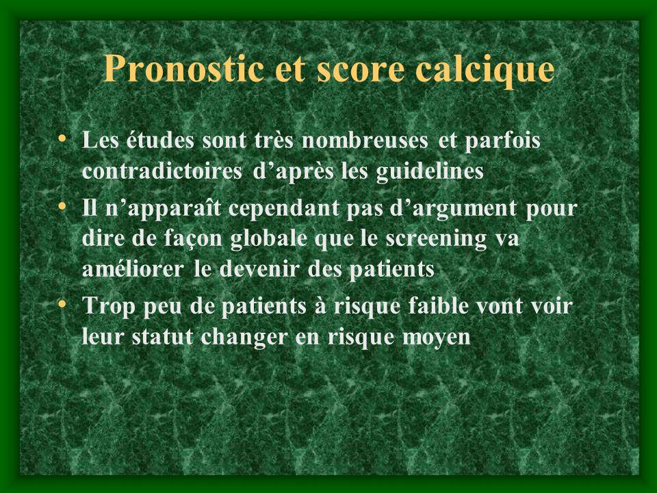 Pronostic et score calcique Les études sont très nombreuses et parfois contradictoires daprès les guidelines Il napparaît cependant pas dargument pour