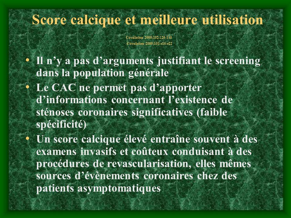 Score calcique et meilleure utilisation Circulation 2000;102:126-140 Circulation 2000;101:e16-e22 Il ny a pas darguments justifiant le screening dans